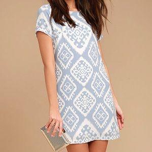 Give Me a Print Light Blue Print Shift Dress Large